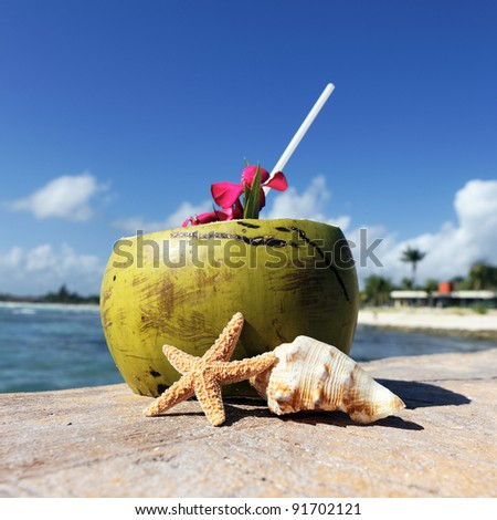 Coconut With Drinking Straw On A Beach At The Caribbean Sea