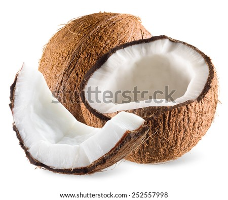 Coconut with half and piece isolated on white - stock photo