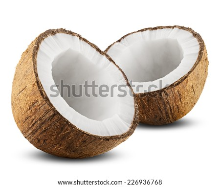 Coconut with half isolated on white Background. Clipping Path - stock photo