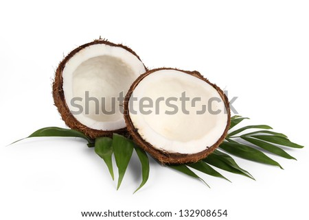 coconut with leaf on a white background