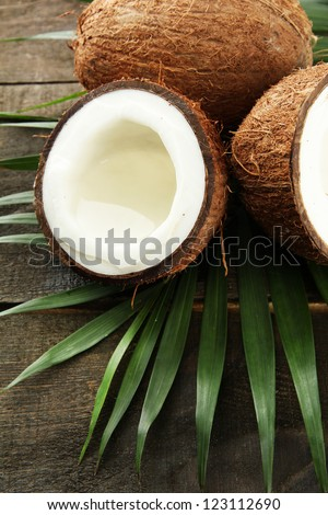 Coconut with leaves, on grey wooden background