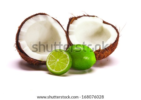 Coconut with Limes - stock photo