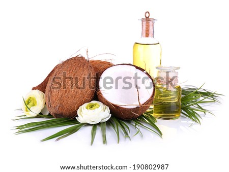 Coconuts and coconut oil, isolated on white