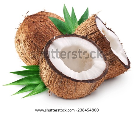 Coconuts and it's half with leaves. File contains clipping paths. - stock photo