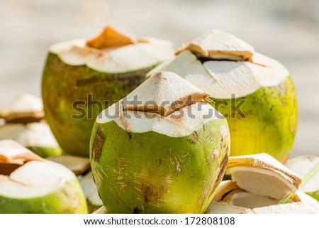 Coconuts at Thai market, Thailand - stock photo