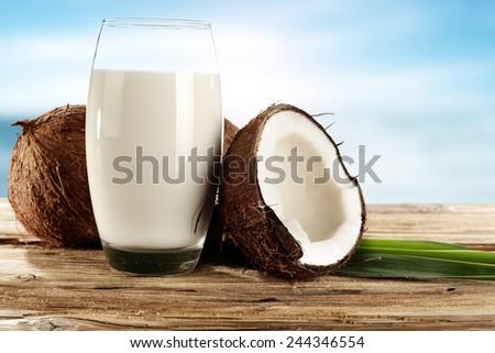 coconuts milk space  - stock photo
