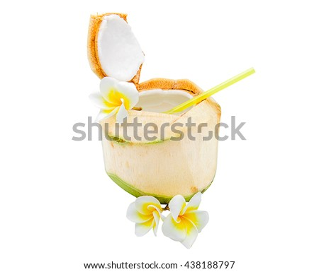 Coconuts with flowers isolated on a white background.