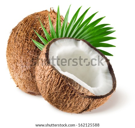 Coconuts with leaf on white background - stock photo