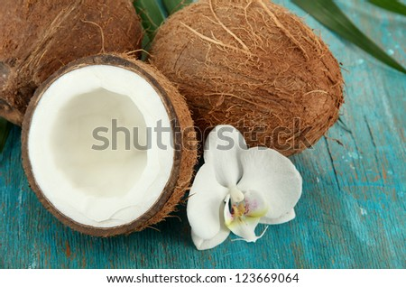 Coconuts with leaves and flower, on blue wooden background