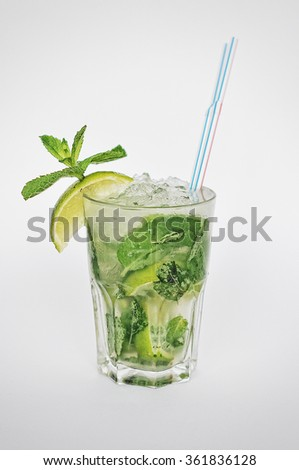 coctail mojito isolated on the white background - stock photo