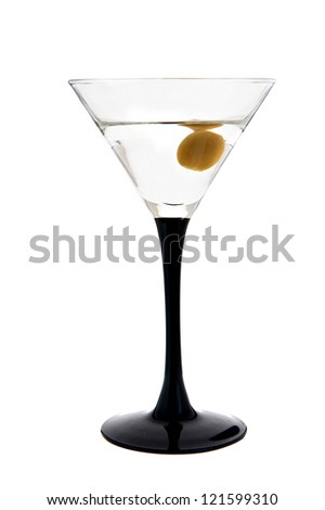 Coctail on white with olives - stock photo