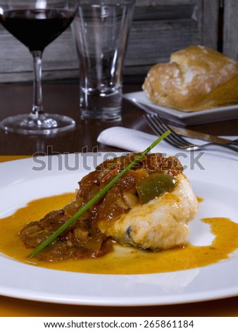 Cod dish ajoarriero with pepper