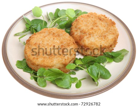 Cod fishcakes with watercress.