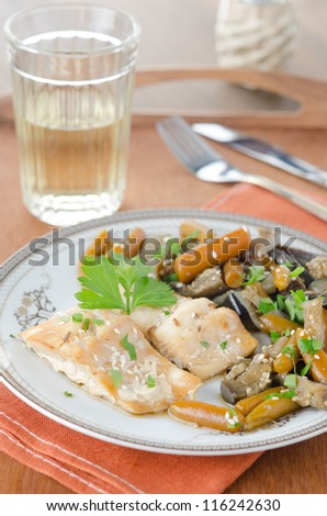 cod in beer marinade with vegetables
