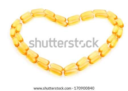 Cod liver oil Omega 3 gel capsules in the form of heart isolated on white background - stock photo