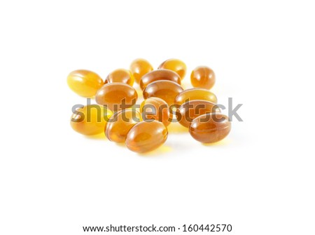 Cod liver oil omega 3 gel capsules isolated on white