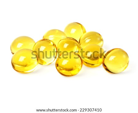 Cod liver oil omega 3 gel capsules on a white background - stock photo