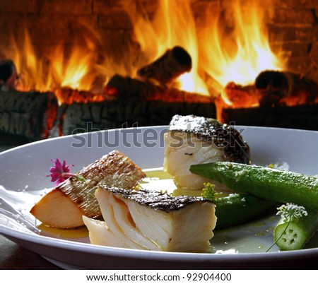 Cod with olive oil - stock photo