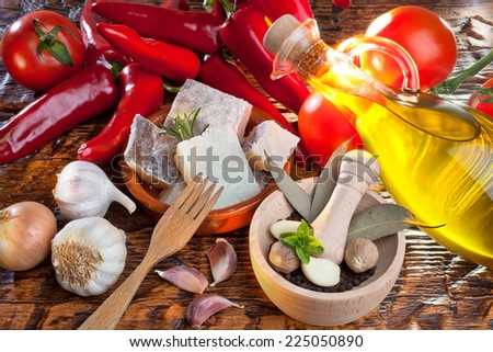 Cod with peppers. Basque Country. Spain. - stock photo