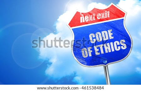 code of ethics, 3D rendering, blue street sign