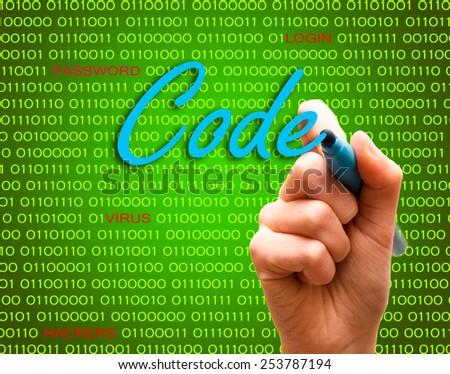Code password login virus hackers hand binary text - stock photo