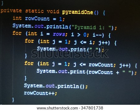 Coding application by programmer developer. Programming code abstract background screen of software.