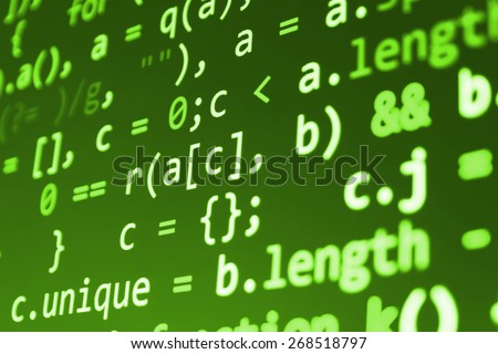 Coding application by programmer developer. Web app coding. Script on computer with source code. Programming code abstract background screen of software. Green color.