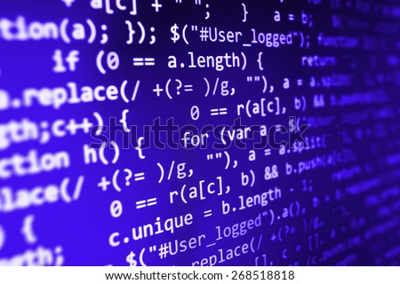 Coding application by programmer developer. Web app coding. Script on computer with source code. Programming code abstract background screen of software. Violet purple color.  - stock photo