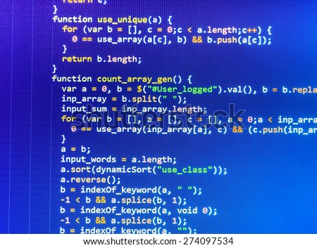 Coding programmer abstract background. Computer language script code screen. Blue  color. - stock photo