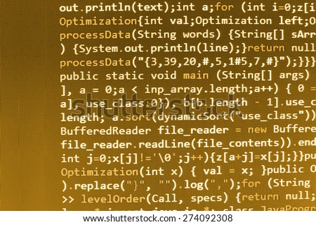 Coding programmer abstract background. Computer language script code screen. Yellow color. - stock photo