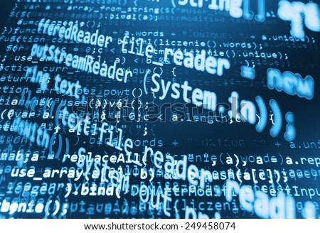 Coding programming source code screen. Colorful abstract data display. Software developer web program script. Blue cyan background color, white text chars and digits. All code written by myself. - stock photo