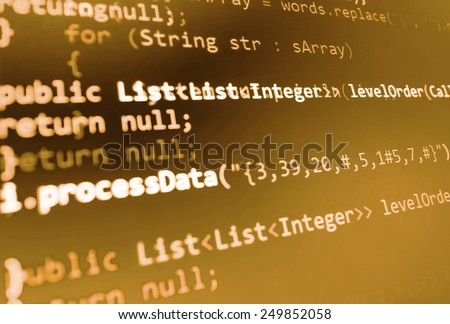 Coding programming source code screen. Colorful abstract data display. Software developer web program script. Yellow orange gold background color, white text chars and digits. - stock photo