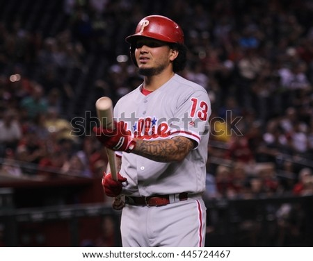 Cody Asche left fielder for the Philadelphia Phillies at Chase Field in Glendale AZ USA 6,28,16.