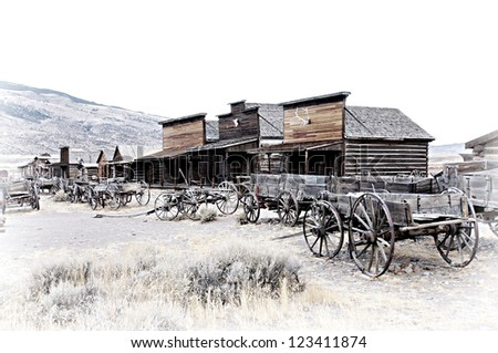 Cody, Wyoming, Old Wooden Wagons in a Ghost Town, United States - stock photo