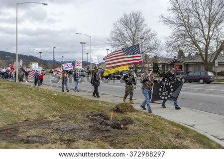 Coeur d'Alene, Idaho - 02-06-2016. A rally for Lavoy Finicum being held in Coeur d'Alene, Idaho on February 6, 2016.