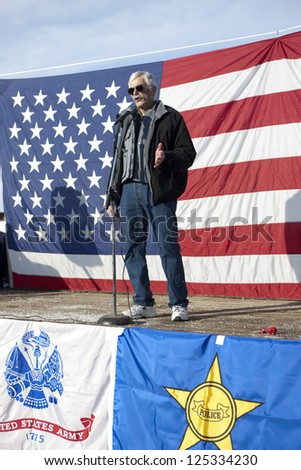 "COEUR D""ALENE, IDAHO - JANUARY 19:Idaho state Representative Ron Mendive speaks to the crowd during the pro 2nd amendment rally in Coeur d'Alene, Idaho on January 19, 2013."