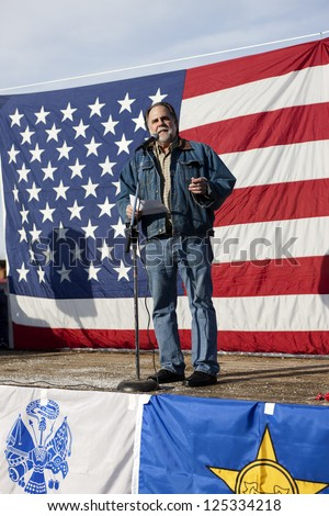 "COEUR D""ALENE, IDAHO - JANUARY 19:Idaho state Representative Vito Barbieri speaks to the crowd during the pro 2nd amendment rally in Coeur d'Alene, Idaho on January 19, 2013."