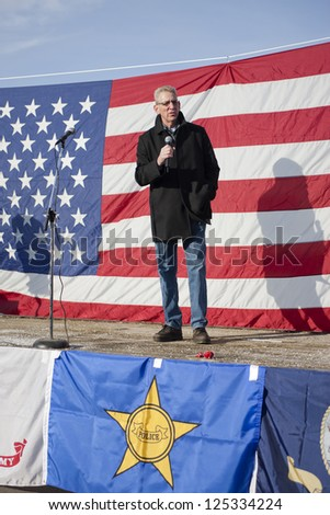 "COEUR D""ALENE, IDAHO - JANUARY 19:Idaho state Senator Bob Nonini speaks to the crowd during the pro 2nd amendment rally in Coeur d'Alene, Idaho on January 19, 2013."