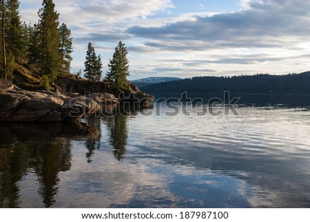 Coeur d' Alene lake view from Tubbs Hill in North Idaho. - stock photo