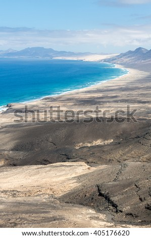 Cofete beach, view from Jandia peninsula, Fuerteventura, Canary Islands, Spain