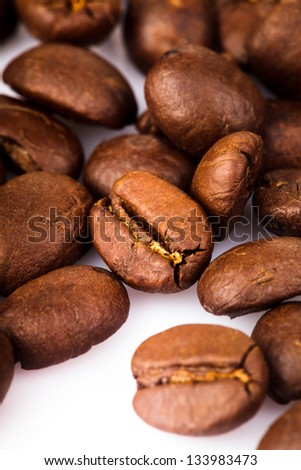 coffe beans heap isolated on white background