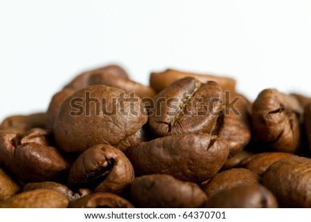 Coffe beans on white background - stock photo