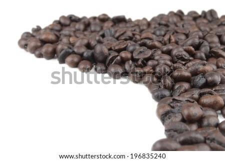 Coffe beans on white isolated - stock photo