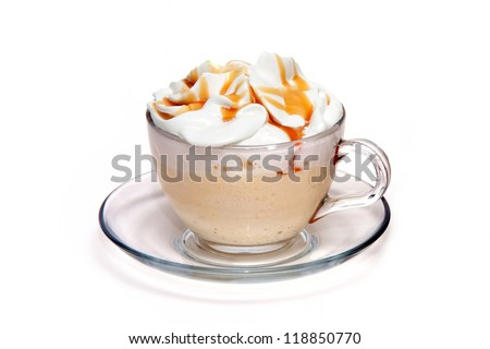 Coffe cocktail with caramel in glass cup - stock photo