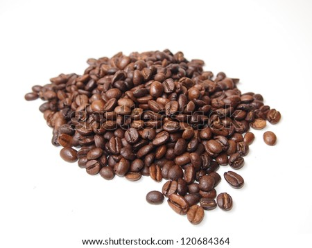 coffe grains isolated on white
