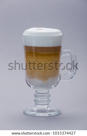 Coffe latte on a gray background