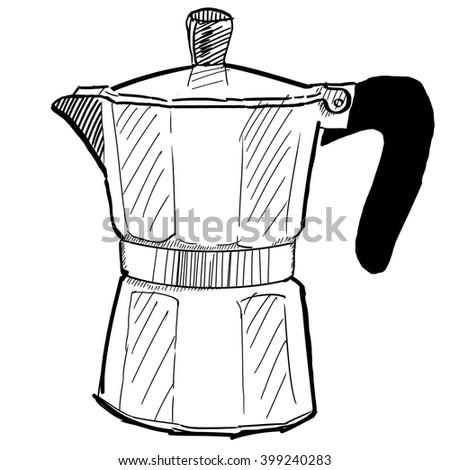 Coffe Maker Percolator Graphic Sketch