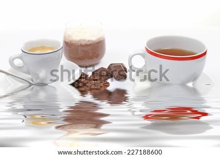 coffe,tea and choco cream - stock photo
