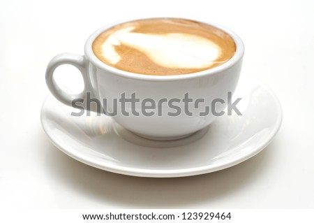 Coffe with milk white cup - stock photo