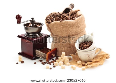 Coffee accessories and coffee  ingredients. Isolated on white background. - stock photo